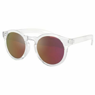 394b07940cc0 VIVIENFANGColor Mirrored Lens Horn Rimmed Round Sunglasses Clear Frame  P1634B Re