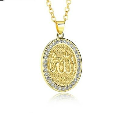 18k Gold Plated Cooper Crystal Rhinestone Islamic/ALLAH/Pendant Necklace