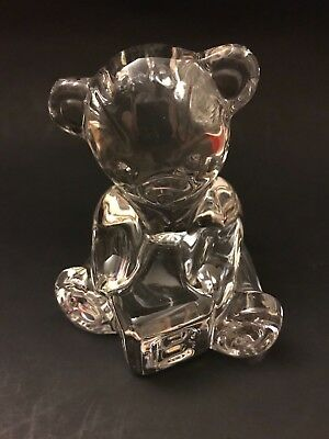 WATERFORD CRYSTAL Teddy Bear with Block Paperweight Figurine