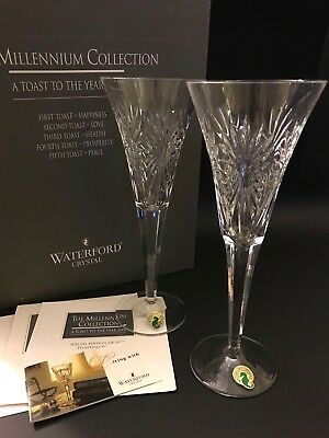 """WATERFORD CRYSTAL The Millennium Collection """"Health"""" Toasting Flutes w/Box"""