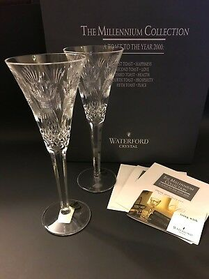 """WATERFORD CRYSTAL The Millennium Collection """"Prosperity"""" Toasting Flutes w/Box"""