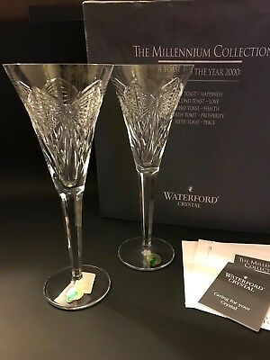 """WATERFORD CRYSTAL The Millennium Collection """"Happiness"""" Toasting Flutes w/Box"""