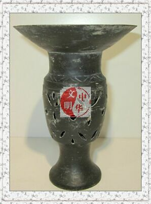 """NEOLITHIC LongShan CULTURE EGGSHELL THIN VESSEL BLACK POTTERY WineWare POT CUP5"""""""