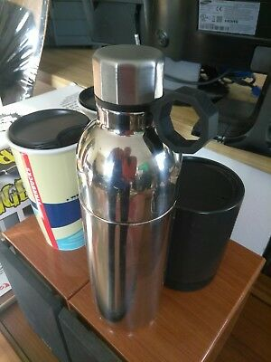 NEW Starbucks Double Wall Stainless Steel 20oz 2pc NWT Water Bottle Thermos Cup