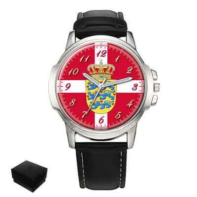 Denmark Danish Flag Coat Of Arms Gents Mens Wrist Watch  Gift Engraving