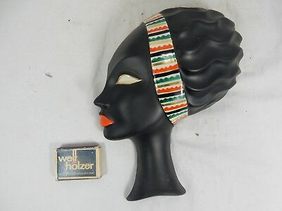 "Rare / seltene 50´s design Porzellan wall mask Wandmaske "" Black Beauty """