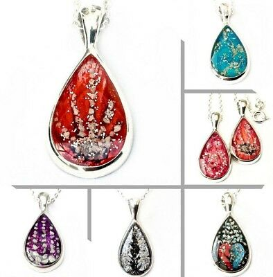 """solid stirling silver custom cremation jewellery ashes pear pendant +18"""" chain"""