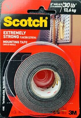 """3M Scotch Extremely Strong Double Sided Mounting Tape 414DC 1""""x 60"""" Black 1 Roll"""