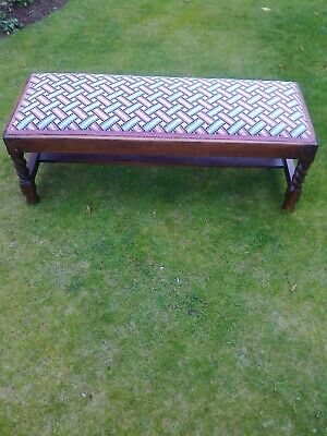Victorian Double Upholstered Footstool  with Barleytwist Legs