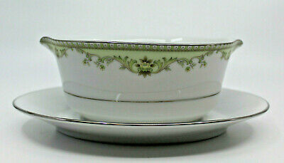Noritake Raleigh Contemporary Fine China Gravy Boat with Under Plate 2487 Japan