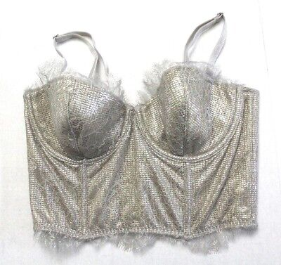 4e456e95d8e Victoria s Secret Chantilly Lace Mini Bustier Lined Strapless Sz 36B Gold  Shine