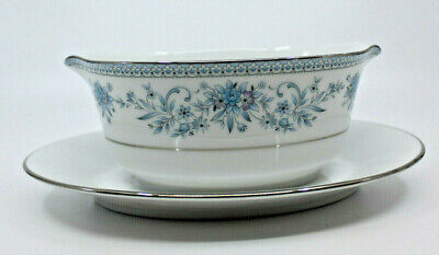 Noritake Blue Hill Contemporary Fine China Gravy Boat Under Plate 2482 Japan