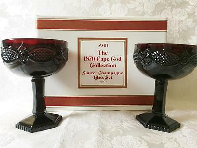 Avon Cape Cod Saucer Champagne set of 2, Ruby Red 4 boxes available, new