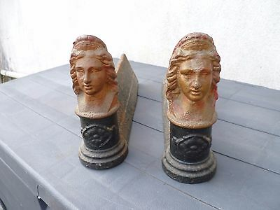 A Pair Of Antique  French,  'Boudica ' Figural Cast Iron Fire Dogs.  Andirons