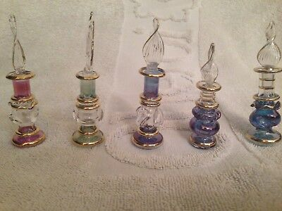 """Set of 50 Mouth blown EGYPTIAN PERFUME BOTTLES Pyrex Gold Painted  Glass 4"""""""