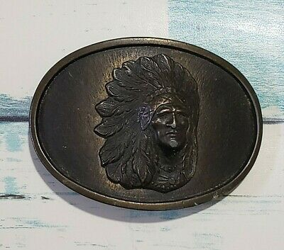 Native American/Indian/Chief - Vintage - Belt Buckle - Brass - Oval