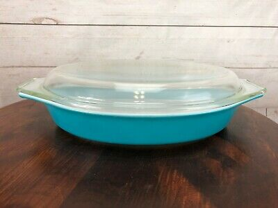 Vintage Pyrex Princess Golden Scroll Turquoise Casserole 1.5 QT Clear Lid Promo