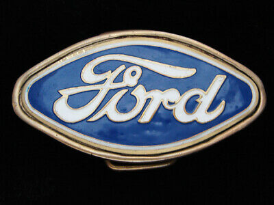 QG27139 VINTAGE 1970s **FORD** MOTOR COMPANY SOLID BRASS BARON BELT BUCKLE
