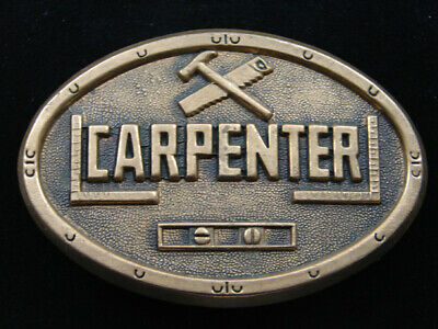 Re01118 Vintage 1979 **Carpenter** Commemorative Solid Brass Baron Belt Buckle
