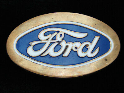 Qh11122 Vintage 1979 **Ford Motor Company** Solid Brass Baron Belt Buckle
