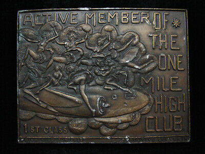PD23139 VINTAGE 1970s **ACTIVE MEMBER OF THE ONE MILE HIGH CLUB** BELT BUCKLE