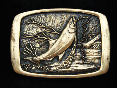 Pf01123 Vintage 1981 **Trout Fish On A Line** Fishing Solid Brass Bts Buckle