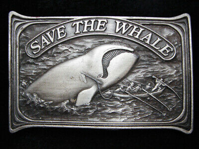 Pe15121 Vintage 1976 **Save The Whale** Right Whale Commemorative Belt Buckle