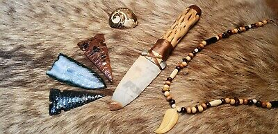 RARE Pumpkin Obsidian Flint Knapped Primitive Hunting Dagger Shaman Bone Handle