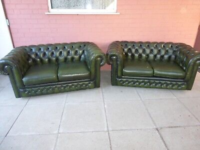 A Pair Thomas Lloyd Green Leather Chesterfield Two Seater Settee