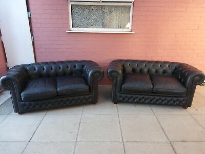 A Pair Black Leather Chesterfield Two Seater Settee ***DELIVERY AVAILABLE**