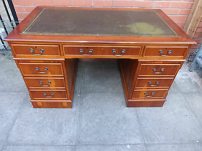 A Yew Green Leather inlay Twin Pedestal Desk ***DELIVERY AVAILABLE***