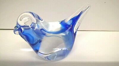 Glass Bird Paperweight / Figurine / Ornament - Clear with Blue design