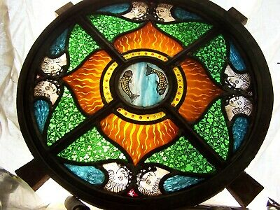 Stained glass Victorian cast iron circular window