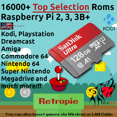 128GB Top Selection 2019 - (RetroPie + Kodi) Sd Card Raspberry Pi 2, 3, 3B+