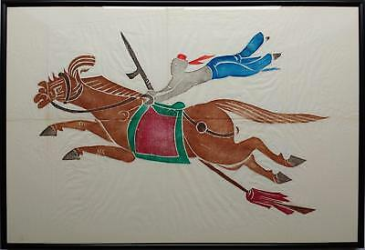 Traditional Chinese Rubbing On Rice Paper - A Galloping Horse With Flying Rider