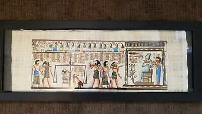 """Egyptian Book Of The Dead Thoth, Horus, Isis Hand Painted Papyrus 33""""X13"""""""