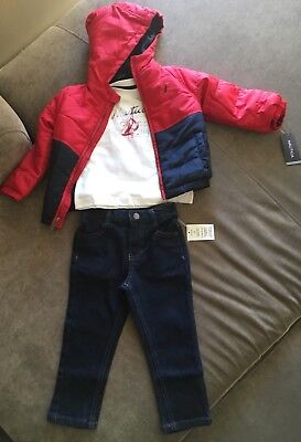 New Nautica Boys Toddlers 3 Pc Outfit Jacket  Shirt Pants  24 M
