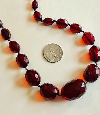 Art Deco Cherry Amber Necklace Faceted Beads Necklace Hidden Clasp Knotted 57.2