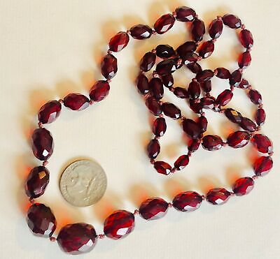 Art Deco Cherry Amber Faceted Beads Necklace 33.3 grams