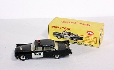 Dinky Toys 258, USA Police Car, Desoto Fireflite, rare, Mint in Box          #ab