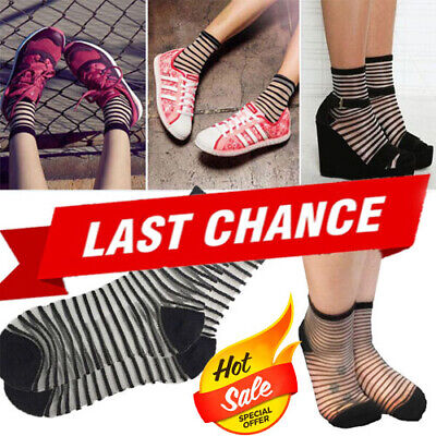 3PC Black Striped Classic Sheer Mesh Stretchy Short Ankle High Anklet Socks OS