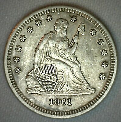 1861 Silver Seated Liberty Quarter US Type Coin AU 25 Cents Almost UNC 25c #B