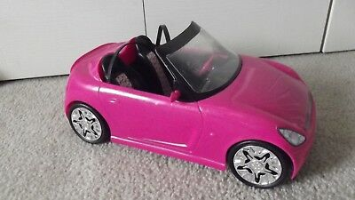Barbie Glam Convertible Car Deep Hot Pink Black Seats Mattel 2009