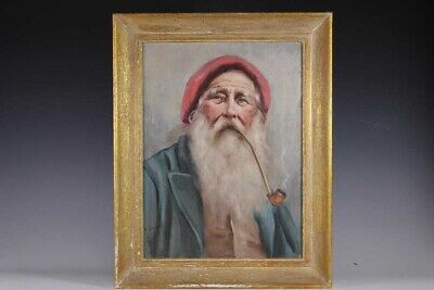 "Early 20th Century Antique Enrich Frattini ""Old Man of Capri"" Oil Painting"