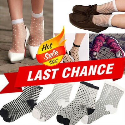 3PC White//Black Top Classic Sheer Mesh Stretchy Short Ankle High Anklet Socks OS