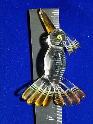 "1x /NOS/VTG/3.5"" LUCITE CLEAR&AMBER HUMMING-BIRD Brooch-Pendant-NO-PIN"