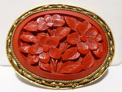 Red Chinese Cinnabar Brooch Filigree Yellow Metal Hand Carved Antique 925 Silver