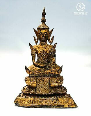 Exceptional antique Buddha, Burma, late 18th Century, gilded bronze