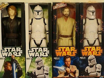 Star Wars 12 Inch Figure 4 pack set / Obi-Wan & Anakin, Clone Troopers