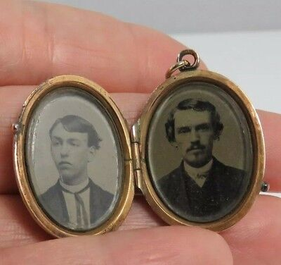 Antique Victorian Gold Filled Ornate Oval Locket Pendant Two Photos inside as is